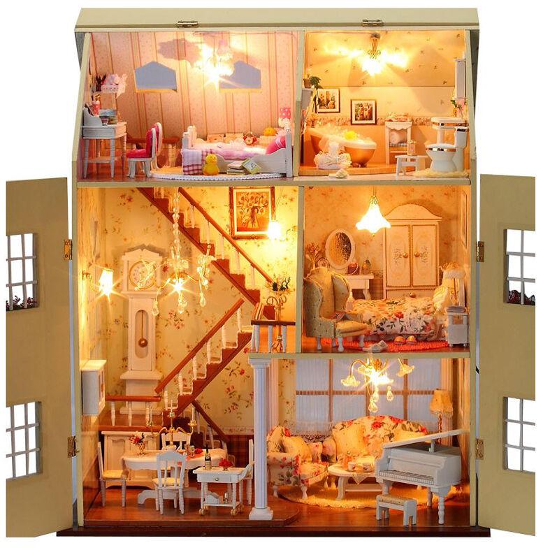 DIY Handwerk Satz Miniatur Projekt LED Lampen Musik Holz Villa Puppenhaus  | Charmantes Design
