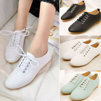 Fashion Womens Casual Leather Lace Up Pointed Toe Loafer Comfort Flat Soft Shoes