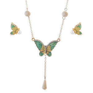 3f73f3c2817762 Image is loading Wedding-Butterfly-Imitation-Pearls-Necklace-Earrings- Jewelry-Set-