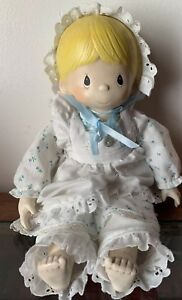 Details About Precious Moments Wood Doll Blonde Painted W White Dress Wooden Hands Feet Head