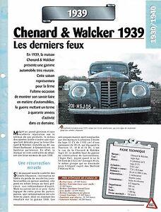 Voiture Chenard & Walcker Aigle Huit - Fiche Technique Auto 1939 Collection Car Attrayant Et Durable