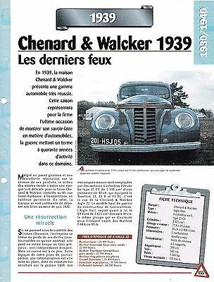 Attento Voiture Chenard & Walcker Aigle Huit - Fiche Technique Auto 1939 Collection Car Prezzo Moderato