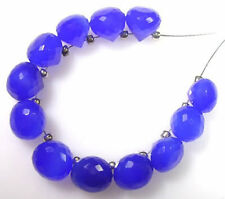 12 BEAUTIFUL ROYAL BLUE CHALCEDONY FACETED ONION BRIOLETTE BEADS 7-7.5 mm  C82