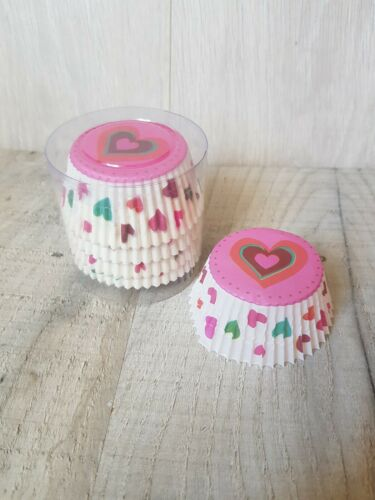CUPCAKE HOLDERS SET 100PCS PINK HEART DISPOSABLE PAPER CUPCAKE CASES
