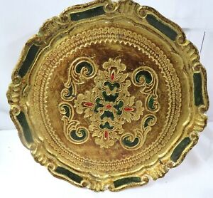 Vtg-Italian-Florentine-Tole-Plate-Green-Gold-Wood-Serving-Tray-Plate-Round