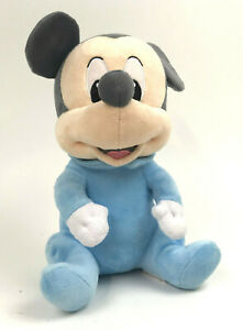 Disney-BABIES-Pastel-BLUE-Plush-MICKEY-Mouse-VELOUR-Gray-10-034-Stuffed-TOY-Sitting