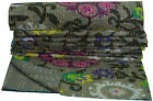 Indian Paisley Handmade Kantha Brown Blanket Quilt Throw Twin Vintage Bed Cover