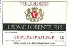 Etiquette de vin Alsace Gewurztraminer Jérome Lorentz Fils Bergheim