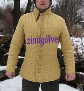 Medieval Gambeson Medieval Padded collar full sleeves Thick yellow color slim