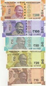 INDIA-5-PCS-NEW-ISSUE-BANKNOTES-SET-10-20-50-100-200-RUPEES-UNC