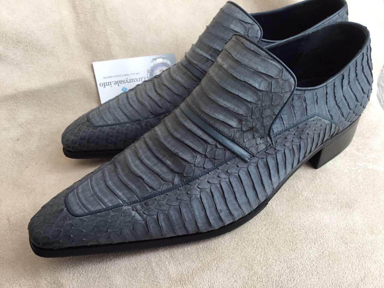 ARTIOLI grigio blu Phyton Leather Men's Loafer scarpe Hand Made in  Dimensione 6