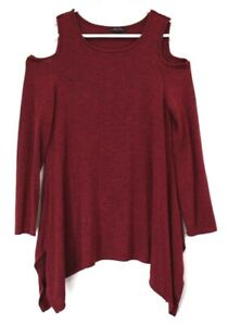 Olivia-Sky-Women-039-s-Large-Open-Shoulder-Crewneck-Long-Sleeve-Blouse-Red