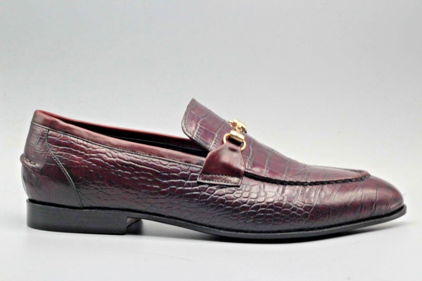 d7cec7d221db1 Men's Bespoke Moccasin Leather Crocodile Shaded Purple & Brown ...