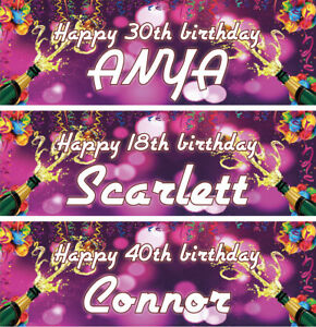 Image Is Loading 2 X Personalised Birthday Banners Champagne S Balloons
