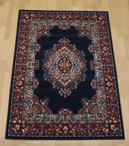 Cheap budget navy blue traditional persian oriental rug medium large 190x280cm