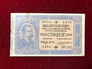 Royaume-D-039-Italie-5-Livres-Double-Effige-Umberto-I-R3-Avis-D-Expert-04-09-1901