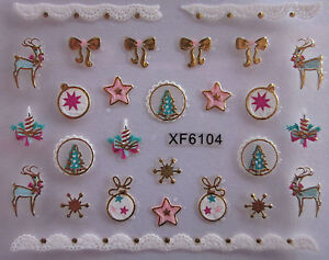 Christmas-3D-Nail-Art-Stickers-Decals-Gold-Snowflakes-Reindeer-Bows-Lace-XF6104