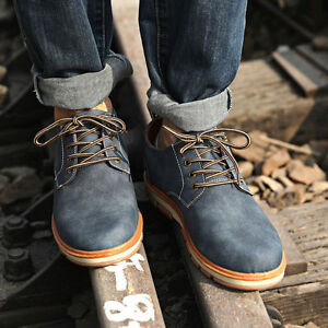 New-Men-Leather-Waterproof-Light-Boots-Low-top-Lace-Up-Casual-Shoes-Fashion