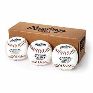 Youth Tball or Training Baseballs, Box of 3 Tballs, TVBBOX3, White, Official