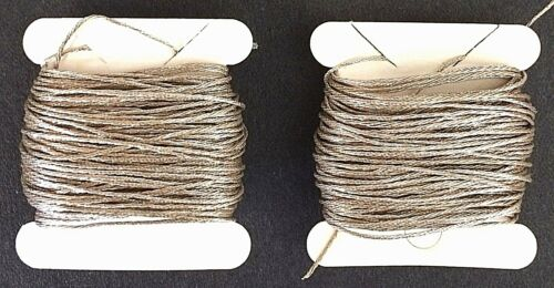 Embroidery 20 yds French Antique 1930s SILVER PLATED 4-Ply Twist Metal THREAD