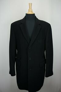 John-Varvatos-Solid-Black-100-Cashmere-Mens-Dress-Business-Overcoat-Sz-42R