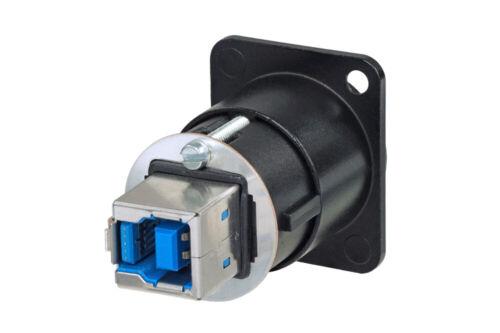 Neutrik NAUSB3-B reversible USB 3.0 feed through adapter Chassis mount in Black