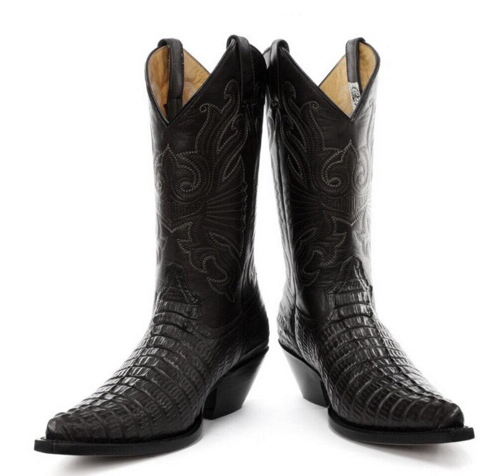 Grinders Negro Estampado de Cocodrilo Hombre Cowboy Del Oeste botas
