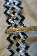 RARE Vintage Art Deco Gold & Black Beaded Sewing Ribbon 3