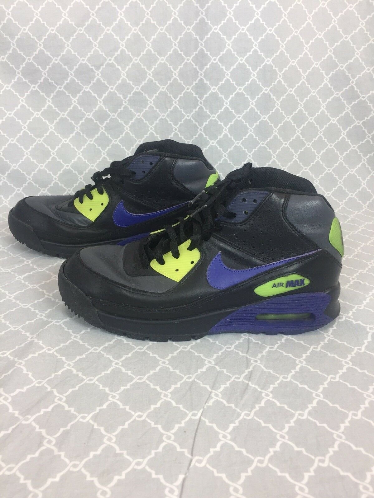 Nike Air Max Airmax 90 Boots, Black Purple Yellow size 9.5, 316339-041