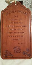 "VTG Kitchen Prayer Wood Wall Plaque -""Bless This  Kitchen, Lord"" Decor free ship"