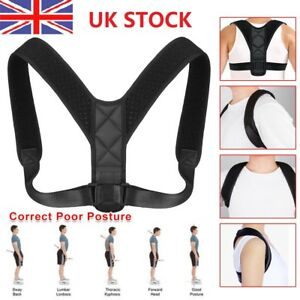 Back-Brace-Posture-Corrector-Adjustable-Lumbar-Support-Therapy-Shoulder-Belt-UK