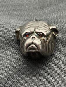 2g Silver Antique BULL DOG BULLY DOG Button Charm Ruby Eyes