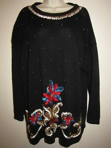 Carolina-Colours-Womans-Vintage-Ugly-Christmas-Sweater-22W-Black-with-Sequins