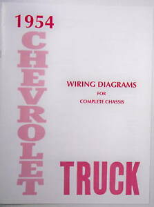 1954 Chevy Truck Wiring Diagram Manual Ebay