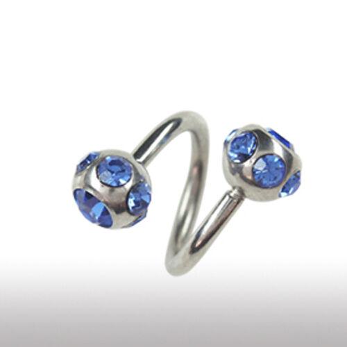 1,6mm bodyspirale oreja cejas pecho piercing con 7 cristales bala