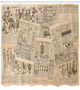 Details About Newspaper Pages And Magazine For Woman Vintage Art Pattern Shower Curtain Set
