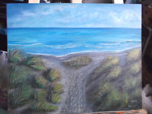 Original-Wall-Art-Acrylic-16x20-Canvas-Board-Beach-Dunes-Wall-Art-Decor