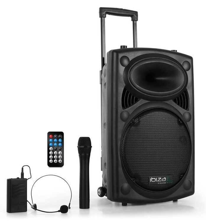 Sono Portable Systeme Karaoké Port12 Vhf blåtooth Ibiza Micros HF PORT12VHF-BT