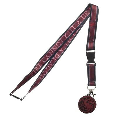 Game of Thrones House Targaryen Lanyard with ID Holder & Charm New