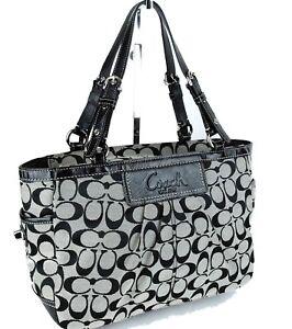 98b43b5049 Image is loading Authentic-COACH-Signature-Canvas-Black-Shoulder-Bag-Handbag -