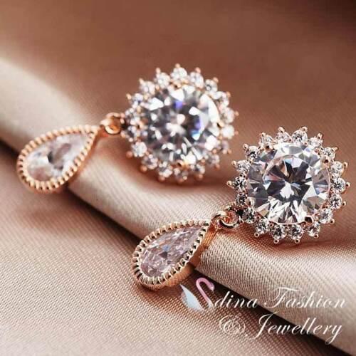 18K Rose Gold Plated Simulated Diamond 2.0 ct Sunshine Teardrop Earrings