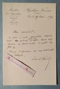 L-A-S-1892-Paul-REVOIL-Ministere-Agriculture-Nimes-Mouries-lettre-autographe