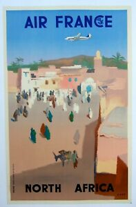 Original-Air-France-Airlines-North-Africa-travel-poster-Small-format-Linen