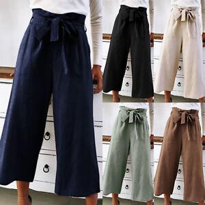 AU-Women-039-s-Wide-Leg-High-Waist-Casual-OL-Pants-Loose-Culottes-Paper-Bag-Trousers