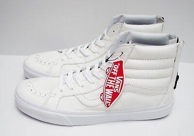 Vans SK8 Hi Reissue Zip Premium Leather True White VN 0004KYII9 Men's Size: 9.5   eBay