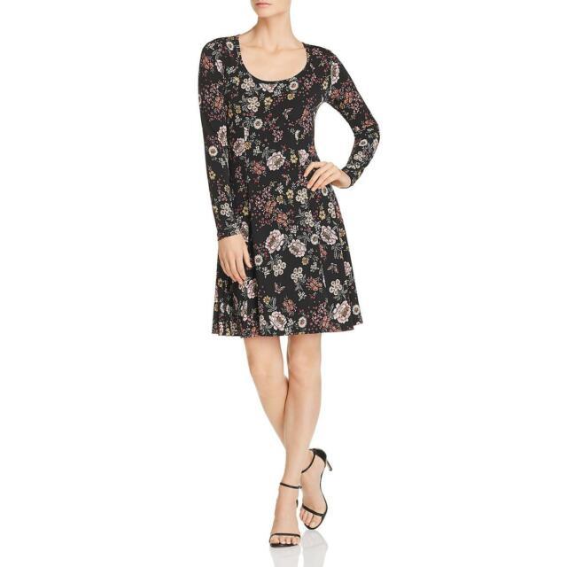 BCX Womens Hacci Black Floral Print Lace Back Mini Casual Dress XS BHFO 1121