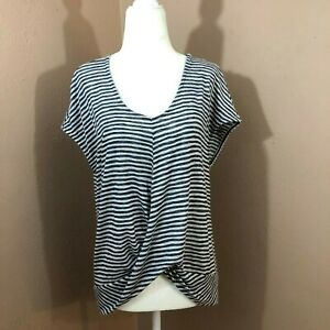 W5-Anthropologie-Womens-Knitted-Blue-Stripe-Knot-Front-Short-Sleeve-Top-Sz-S