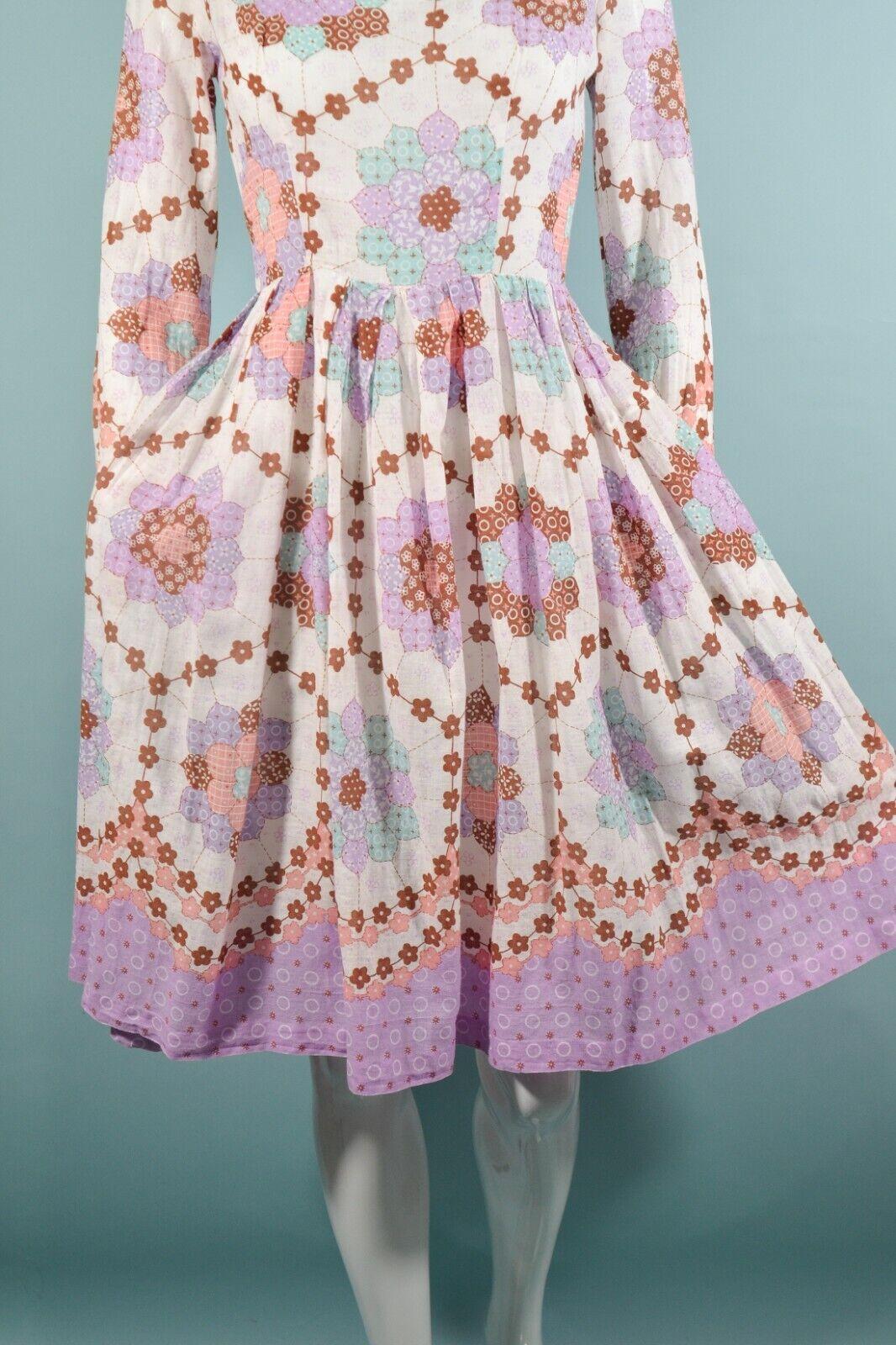 Vintage 60s/70s Faux Patchwork Hippie Dress, Cott… - image 5