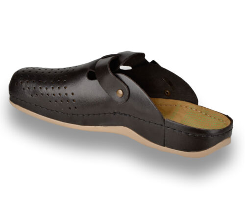 LEON 700 Mens Leather Slip On Mules Clogs Sandals Slippers Shoes New UK Black