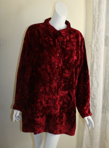 Connie Howard -Sz 1X Rich Dark Red Lux Crinkled Ve